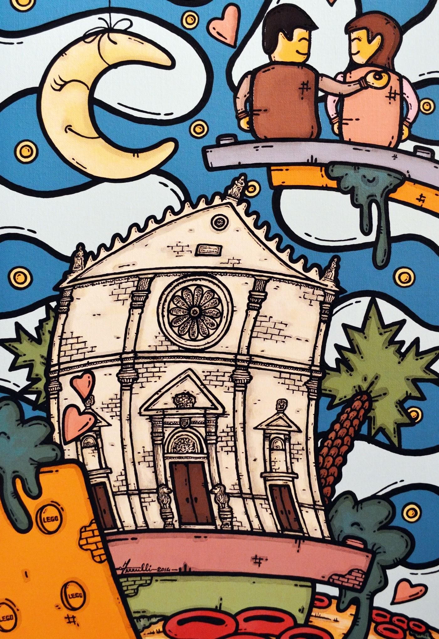 opera d'arte, contornismo metafisico, francesco ferrulli, pittore pugliese, artista italiano, arte contemporanea, puglia, dipinto, olio su tela, paesaggi pugliesi, quadro colorato, oil on canvas, art, painter, lego, cattedrale acquaviva, sposini, amore, cuori
