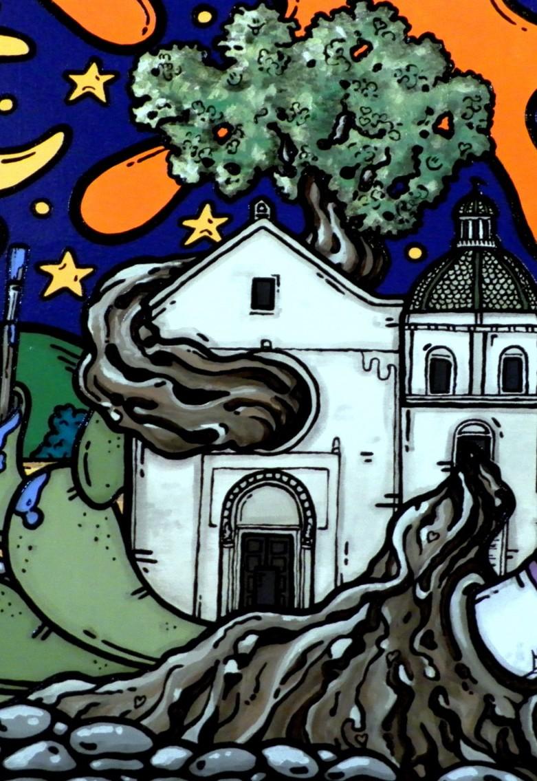 opera, contornismo metafisico, francesco ferrulli, pittore pugliese, artista italiano, arte contemporanea, dipinto, olio su tela, paesaggi pugliesi, puglia, quadro colorato, oil on canvas, art, painter, paesaggio pugliese, campagna pugliese, trulli, ulivi, fichi d'india, grottaglie, pennelli, colori