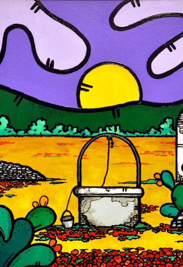 opera, contornismo metafisico, francesco ferrulli, pittore pugliese, artista italiano, arte contemporanea, dipinto, olio su tela, paesaggi pugliesi, puglia, quadro colorato, oil on canvas, art, painter, paesaggio pugliese, campagna pugliese, trulli, ulivi, fichi d'india,