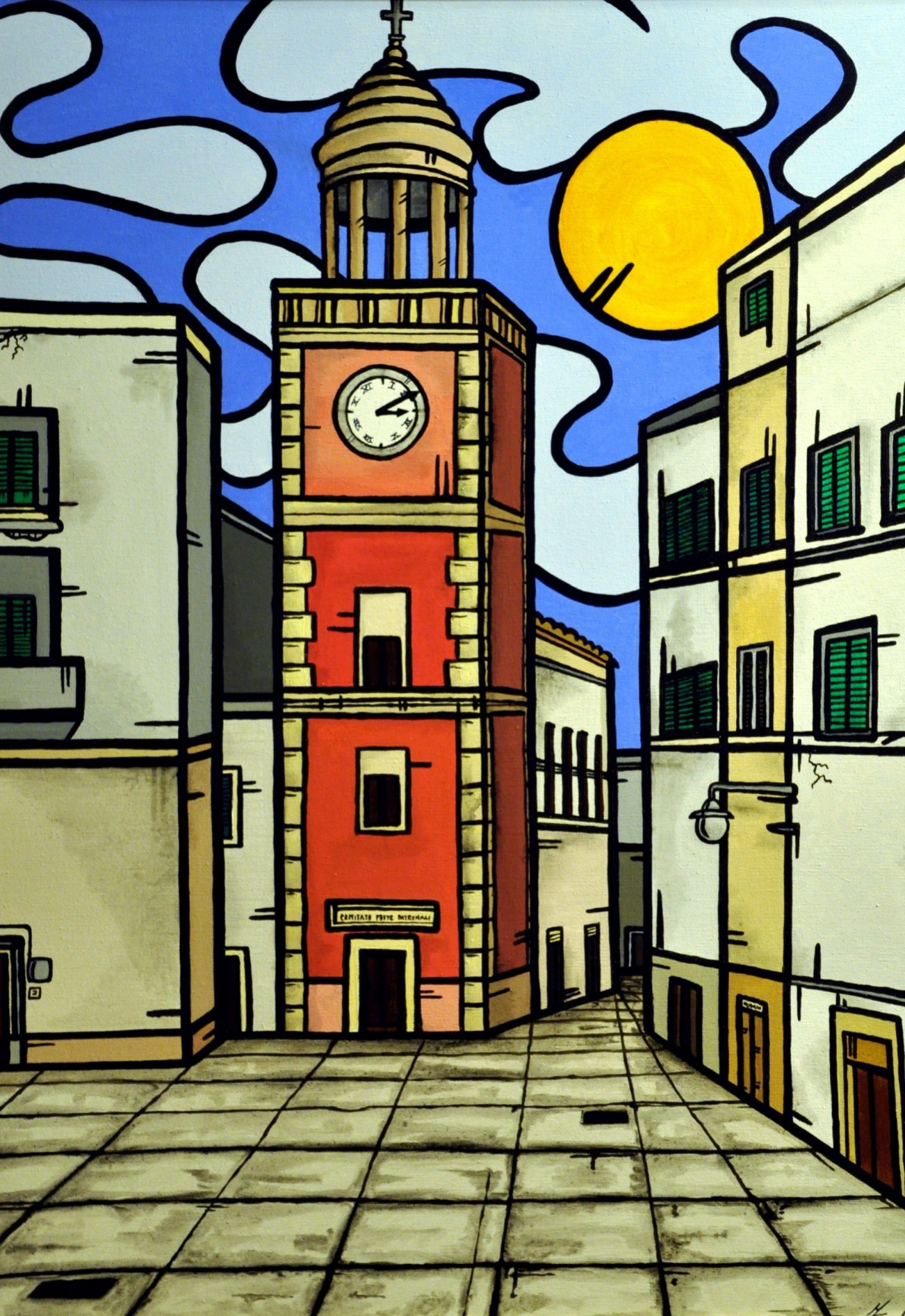 opera d'arte, contornismo metafisico, francesco ferrulli, pittore pugliese, artista italiano, arte contemporanea, dipinto, olio su tela, acrilico su tela, paesaggi pugliesi, quadro colorato, oil on canvas, art, painter, noci, bari, torre orologio