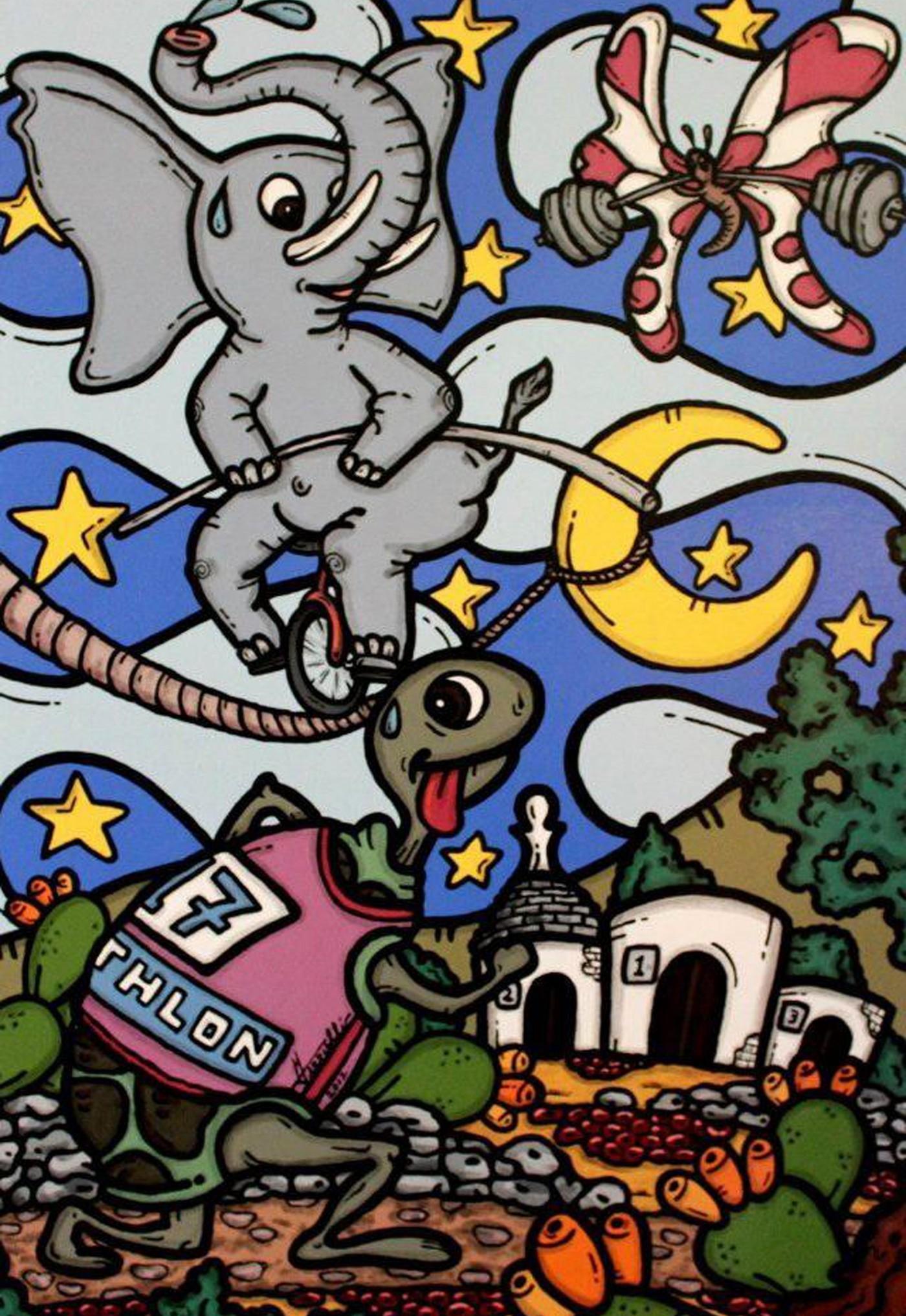 opera d'arte, contornismo metafisico, francesco ferrulli, pittore pugliese, artista italiano, arte contemporanea, dipinto, olio su tela, acrilico su tela, paesaggi pugliesi, quadro colorato, oil on canvas, art, painter, basta crederci, sport, decathlon, farfalla, elefante, tartaruga, trulli