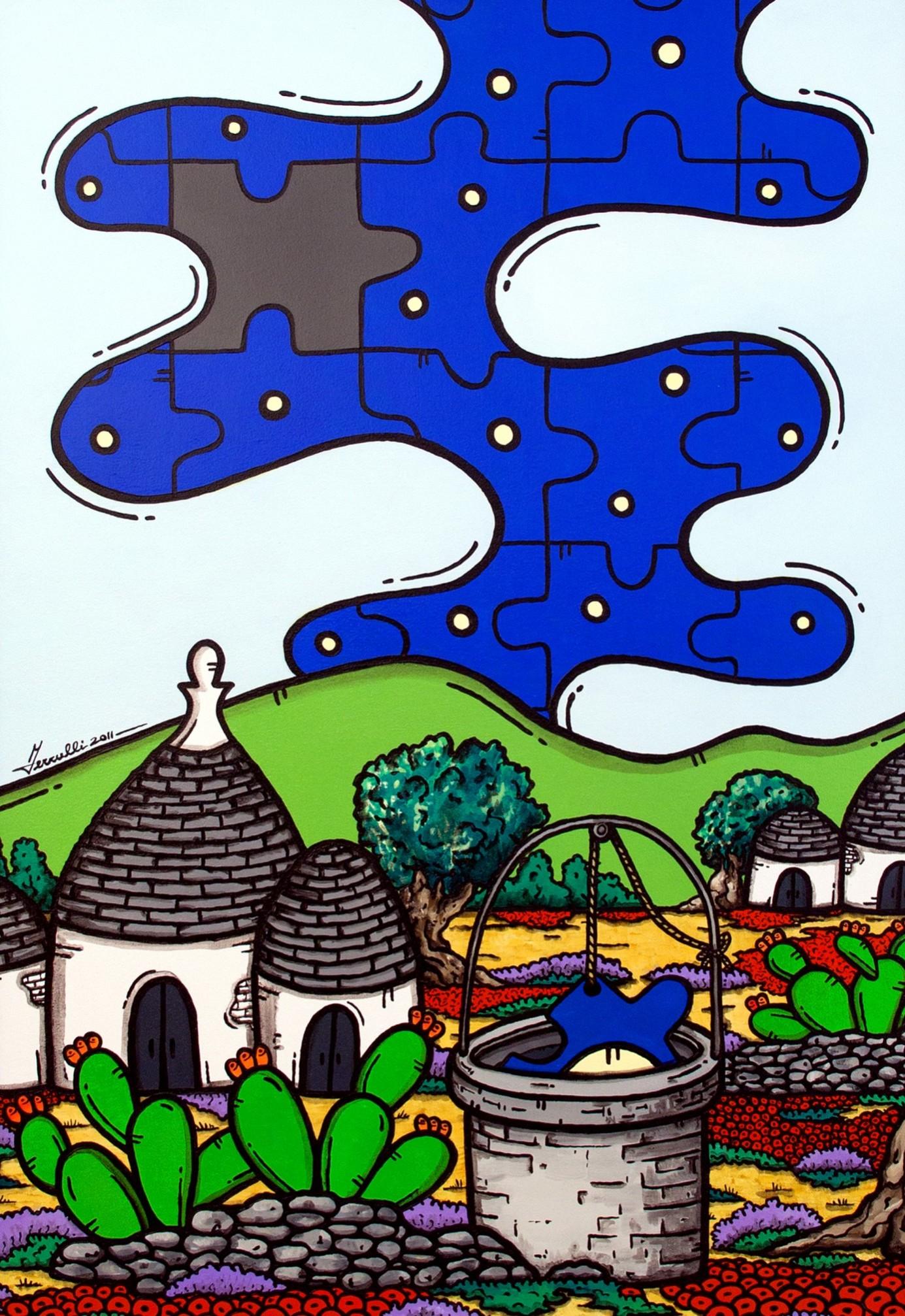opera, contornismo metafisico, francesco ferrulli, pittore pugliese, artista italiano, arte contemporanea, dipinto, olio su tela, paesaggi pugliesi, puglia, quadro colorato, oil on canvas, art, painter, paesaggio pugliese, campagna pugliese, trulli, ulivi, fichi d'india, basta volerlo, luna nel pozzo, puzzle