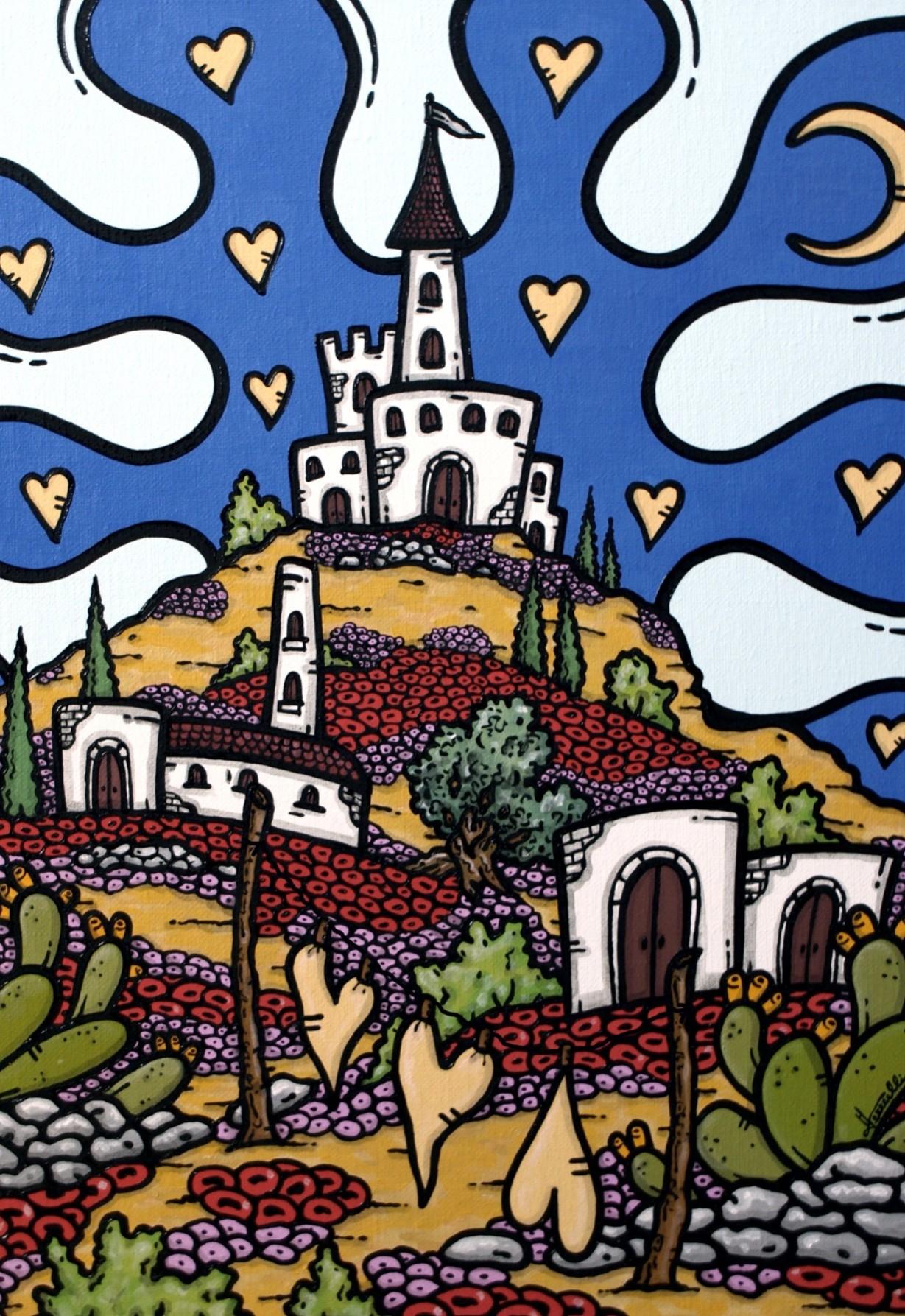 opera, contornismo metafisico, francesco ferrulli, pittore pugliese, artista italiano, arte contemporanea, dipinto, olio su tela, paesaggi pugliesi, puglia, quadro colorato, oil on canvas, art, painter, paesaggio pugliese, campagna pugliese, trulli, ulivi, fichi d'india, castle of love,