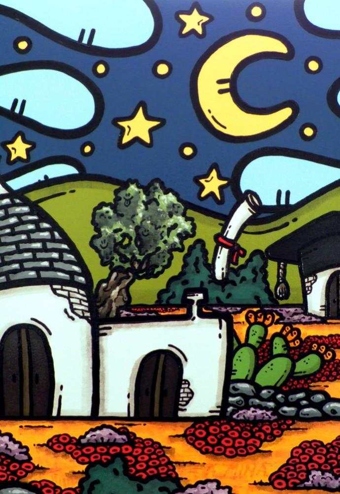 opera, contornismo metafisico, francesco ferrulli, pittore pugliese, artista italiano, arte contemporanea, dipinto, olio su tela, paesaggi pugliesi, puglia, quadro colorato, oil on canvas, art, painter, paesaggio pugliese, campagna pugliese, centodieci, laurea, trulli, ulivi, fichi d'india