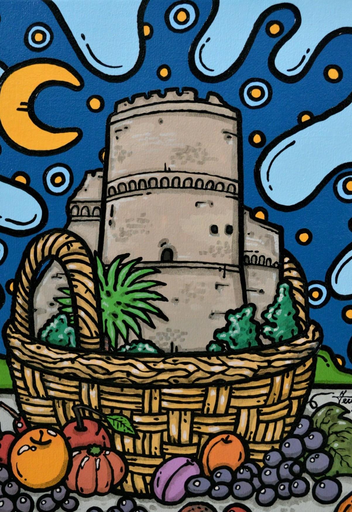 opera d'arte, contornismo metafisico, francesco ferrulli, pittore pugliese, artista italiano, arte contemporanea, dipinto, olio su tela, acrilico su tela, paesaggi pugliesi, quadro colorato, oil on canvas, art, painter, reggio calabria, castello aragonese, cesto frutta, calabria