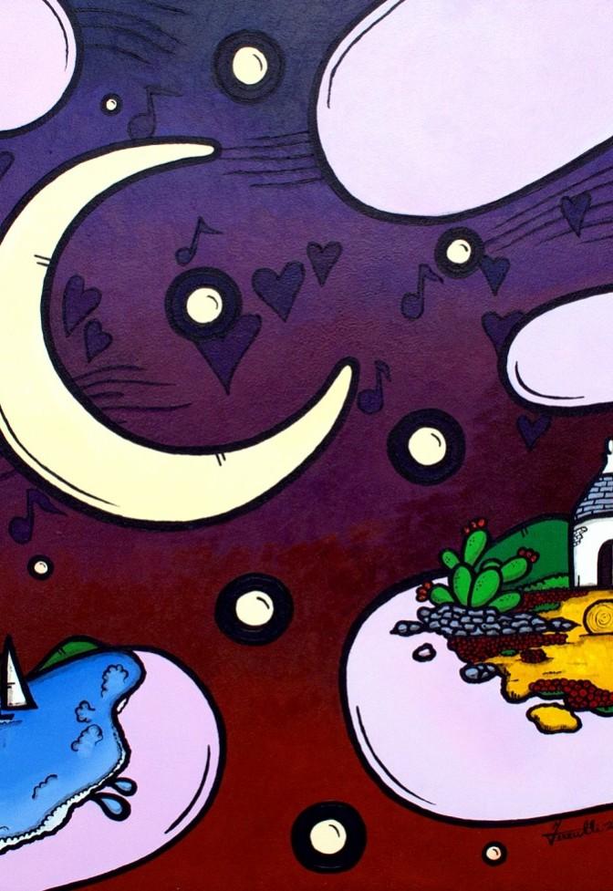opera, contornismo metafisico, francesco ferrulli, pittore pugliese, artista italiano, arte contemporanea, dipinto, olio su tela, paesaggi pugliesi, puglia, quadro colorato, oil on canvas, art, painter, paesaggio pugliese,, campagna pugliese, note musicali, trulli, nuvole