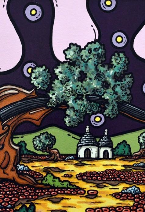 opera, contornismo metafisico, francesco ferrulli, pittore pugliese, artista italiano, arte contemporanea, dipinto, olio su tela, paesaggi pugliesi, puglia, quadro colorato, oil on canvas, art, painter, paesaggio pugliese,, campagna pugliese, dolce sinfonia, trulli, violino,