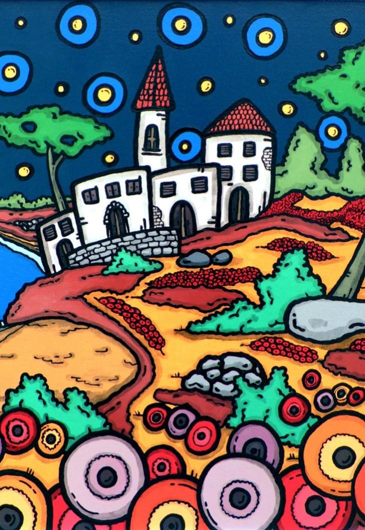 opera d'arte, contornismo metafisico, francesco ferrulli, pittore pugliese, artista italiano, arte contemporanea, puglia, dipinto, olio su tela, acrilico su tela, paesaggi pugliesi, quadro colorato, oil on canvas, art, painter,