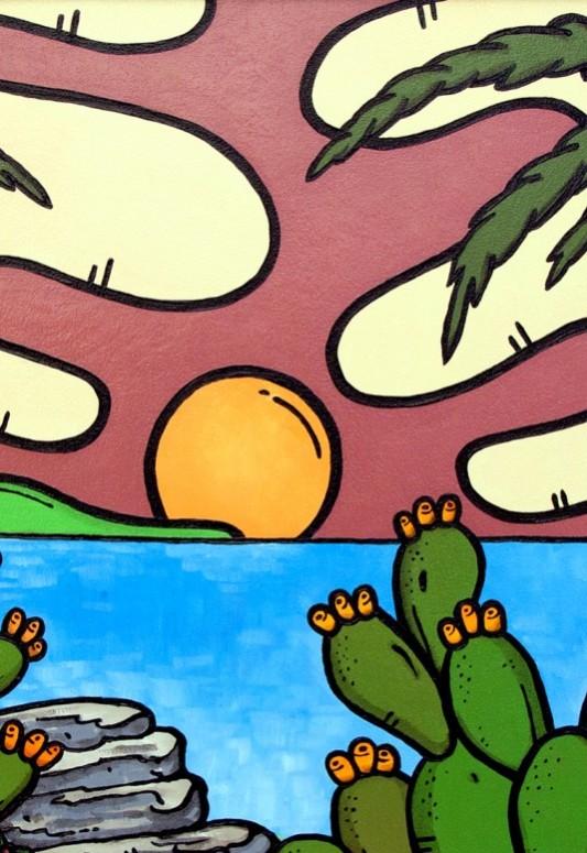 opera d'arte, contornismo metafisico, francesco ferrulli, pittore pugliese, artista italiano, arte contemporanea, puglia, dipinto, olio su tela, acrilico su tela, paesaggi pugliesi, quadro colorato, oil on canvas, art, painter, mare, scogliera, bellezze, palme, esoticamente, vela,