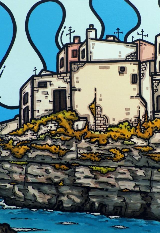opera d'arte, contornismo metafisico, francesco ferrulli, pittore pugliese, artista italiano, arte contemporanea, puglia, dipinto, olio su tela, acrilico su tela, paesaggi pugliesi, quadro colorato, oil on canvas, art, painter, polignano, mare, scogliera, bellezze