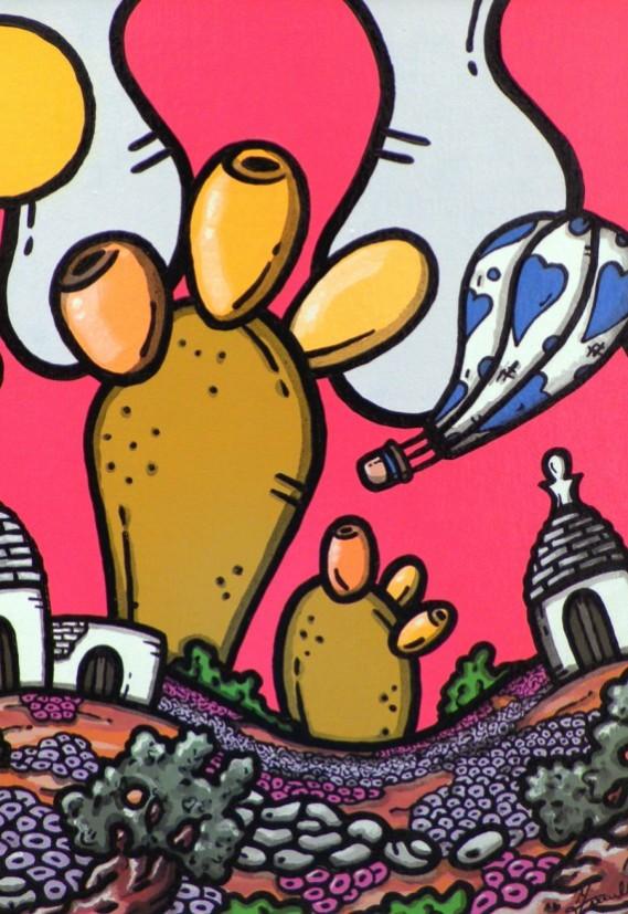opera, contornismo metafisico, francesco ferrulli, pittore pugliese, artista italiano, arte contemporanea, dipinto, olio su tela, paesaggi pugliesi, puglia, quadro colorato, oil on canvas, art, painter, paesaggio pugliese,, campagna pugliese, fichi d'india, trulli, fichissimo