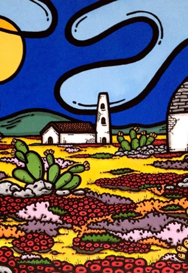 opera, contornismo metafisico, francesco ferrulli, pittore pugliese, artista italiano, arte contemporanea, dipinto, olio su tela, paesaggi pugliesi, puglia, quadro colorato, oil on canvas, art, painter, paesaggio pugliese,, campagna pugliese, fichi d'india, trulli,