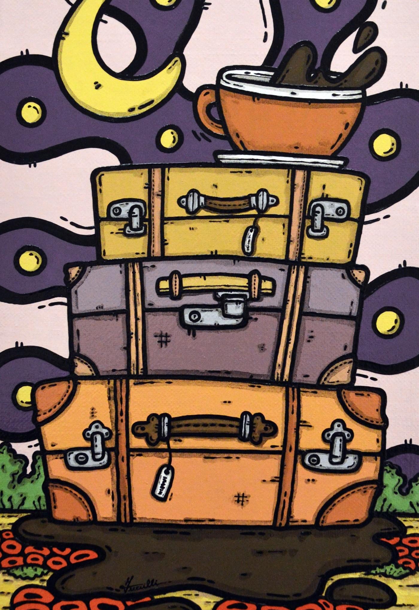opera d'arte, contornismo metafisico, francesco ferrulli, pittore pugliese, artista italiano, arte contemporanea, dipinto, olio su tela, paesaggi pugliesi, quadro colorato, oil on canvas, art, painter, girovago sognante, valigia, viaggio, caffè, luna, viaggiatori, papaveri