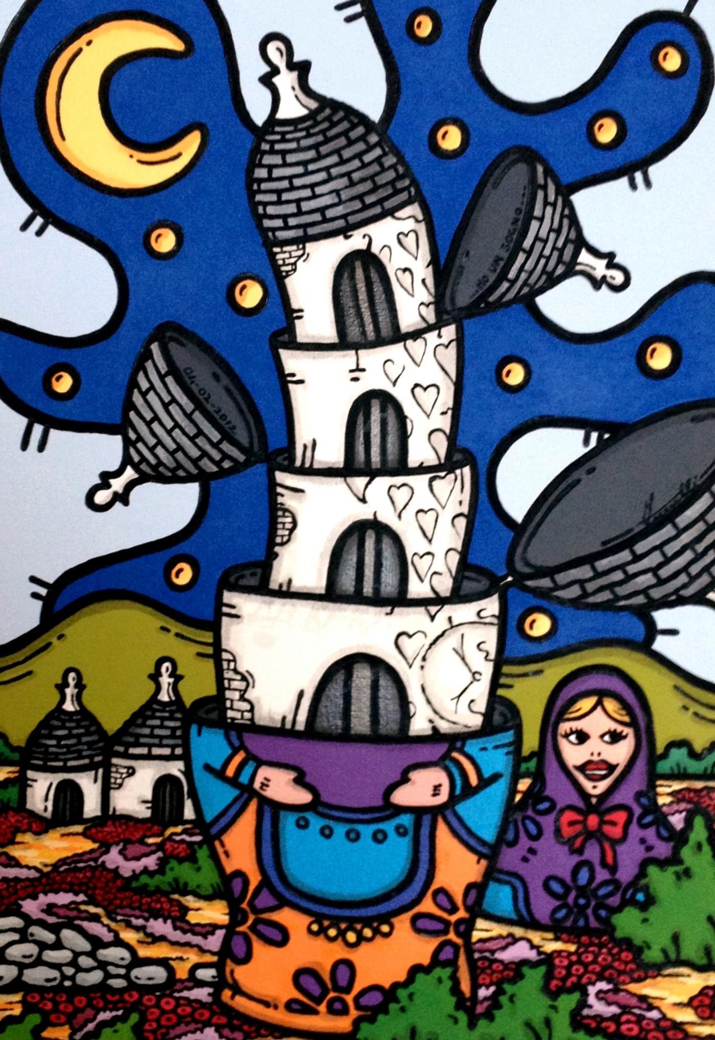 opera d'arte, contornismo metafisico, francesco ferrulli, pittore pugliese, artista italiano, arte contemporanea, dipinto, olio su tela, paesaggi pugliesi, quadro colorato, oil on canvas, art, painter, trulli, russia, mosca, matrioska, ho un sogno