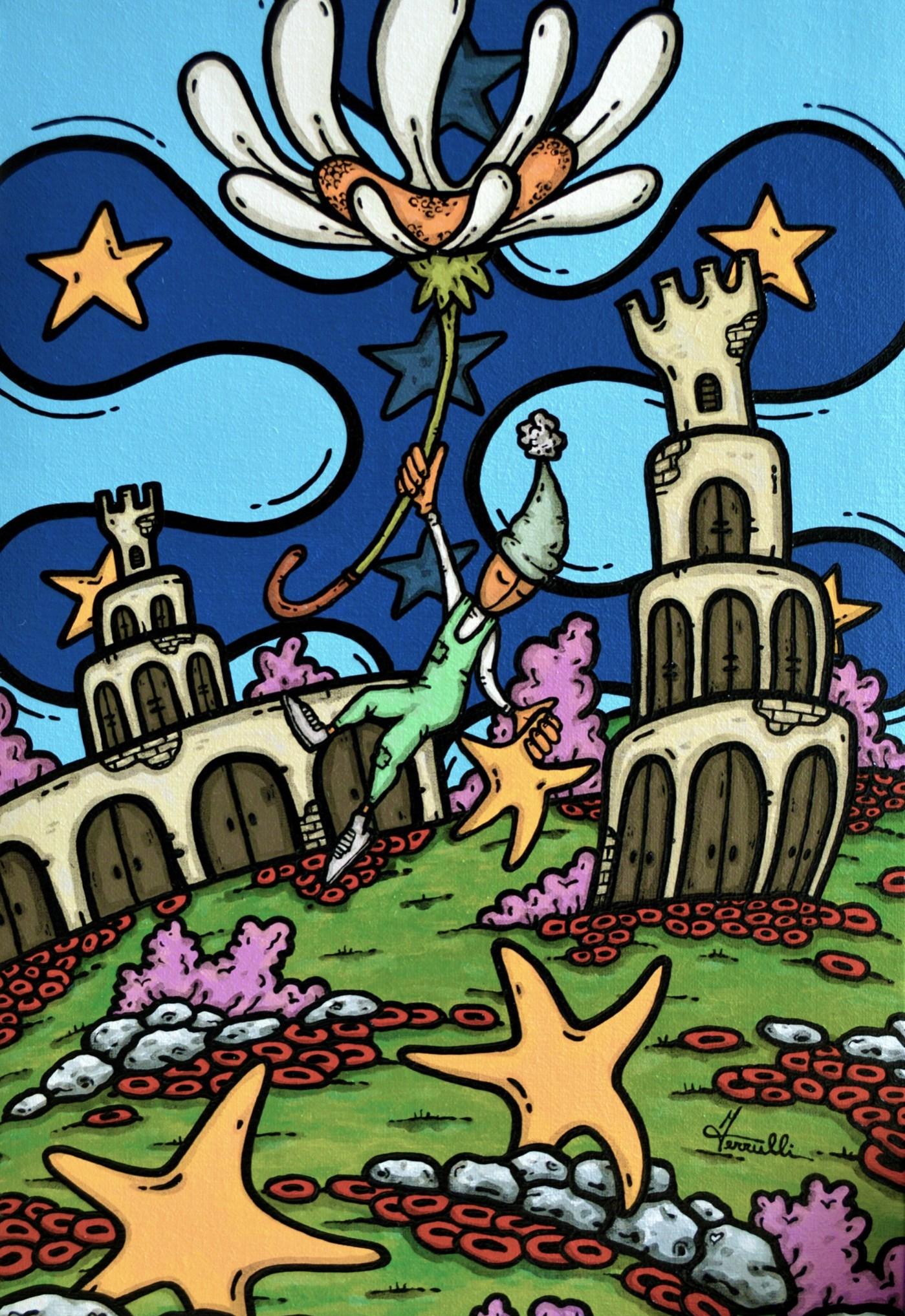 opera d'arte, contornismo metafisico, francesco ferrulli, pittore pugliese, artista italiano, arte contemporanea, dipinto, olio su tela, acrilico su tela, paesaggi pugliesi, quadro colorato, oil on canvas, art, painter, stelle, i sogni son desideri, castelli, margherita, sognatori, notte