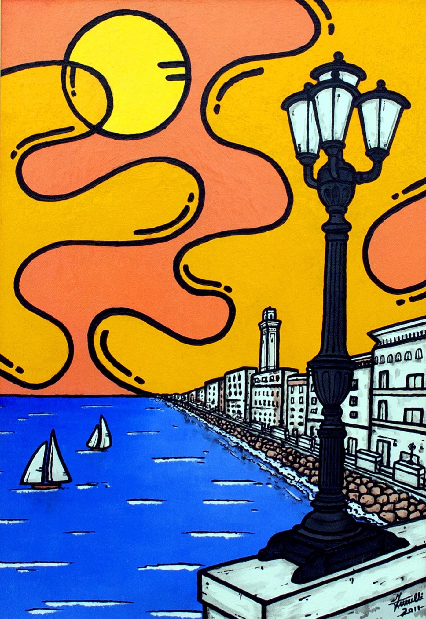 opera d'arte, contornismo metafisico, francesco ferrulli, pittore pugliese, artista italiano, arte contemporanea, dipinto, olio su tela, acrilico su tela, paesaggi pugliesi, quadro colorato, oil on canvas, art, painter, bari, lungomare barese, mare, vele