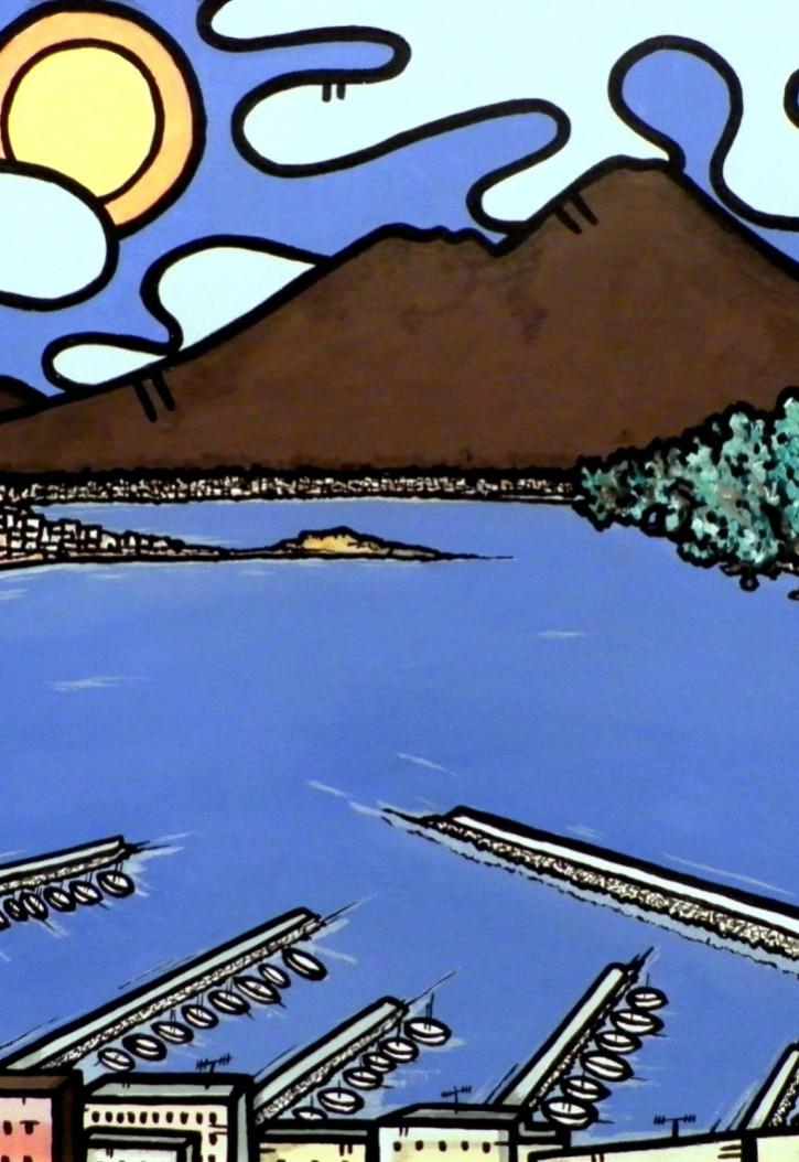 opera d'arte, contornismo metafisico, francesco ferrulli, pittore pugliese, artista italiano, arte contemporanea, dipinto, olio su tela, acrilico su tela, paesaggi pugliesi, quadro colorato, oil on canvas, art, painter, napoli, magico golfo napoletano, vesuvio