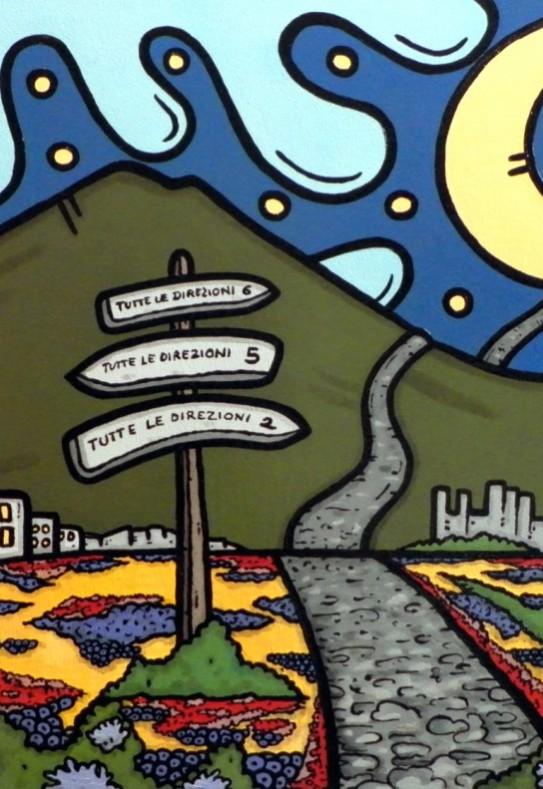 opera d'arte, contornismo metafisico, francesco ferrulli, pittore pugliese, artista italiano, arte contemporanea, dipinto, olio su tela, acrilico su tela, paesaggi pugliesi, quadro colorato, oil on canvas, art, painter, sentiero infinito