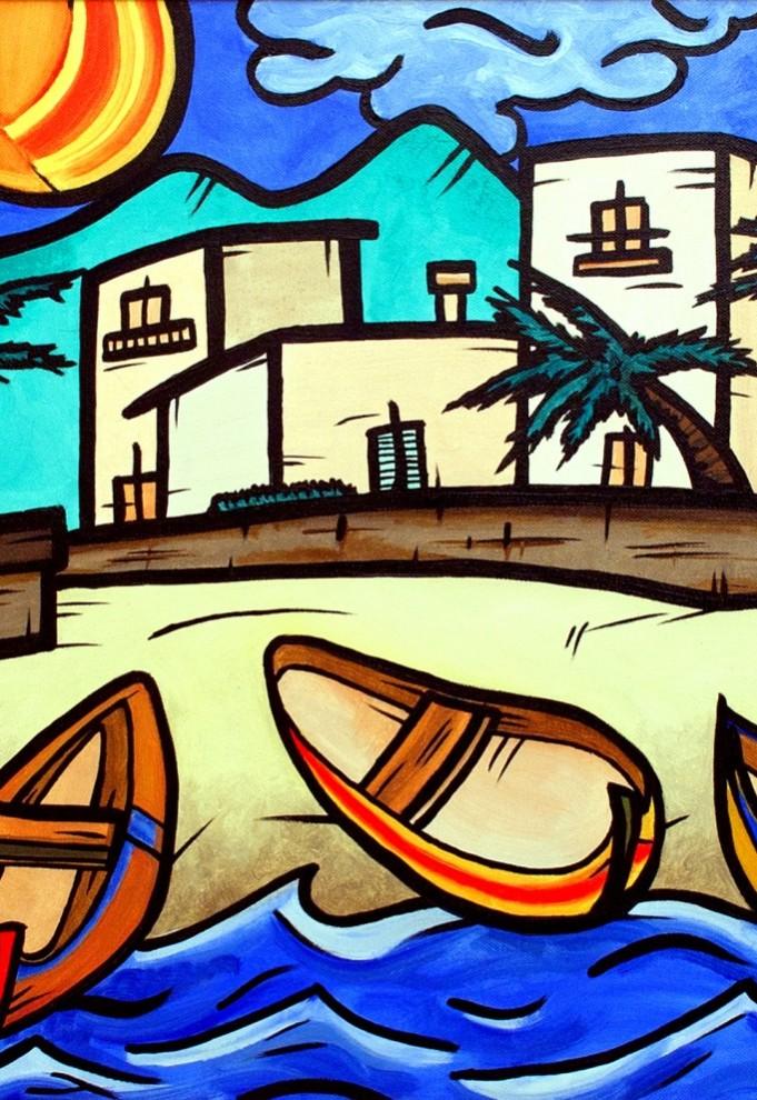 opera d'arte, contornismo metafisico, francesco ferrulli, pittore pugliese, artista italiano, arte contemporanea, dipinto, olio su tela, acrilico su tela, paesaggi pugliesi, quadro colorato, oil on canvas, art, painter, barche, mare, in riva alla magia