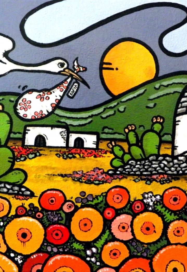 opera, contornismo metafisico, francesco ferrulli, pittore pugliese, artista italiano, arte contemporanea, dipinto, olio su tela, paesaggi pugliesi, puglia, quadro colorato, oil on canvas, art, painter, paesaggio pugliese,, campagna pugliese, fichi d'india, trulli, cicogna, dolce attesa, sofia