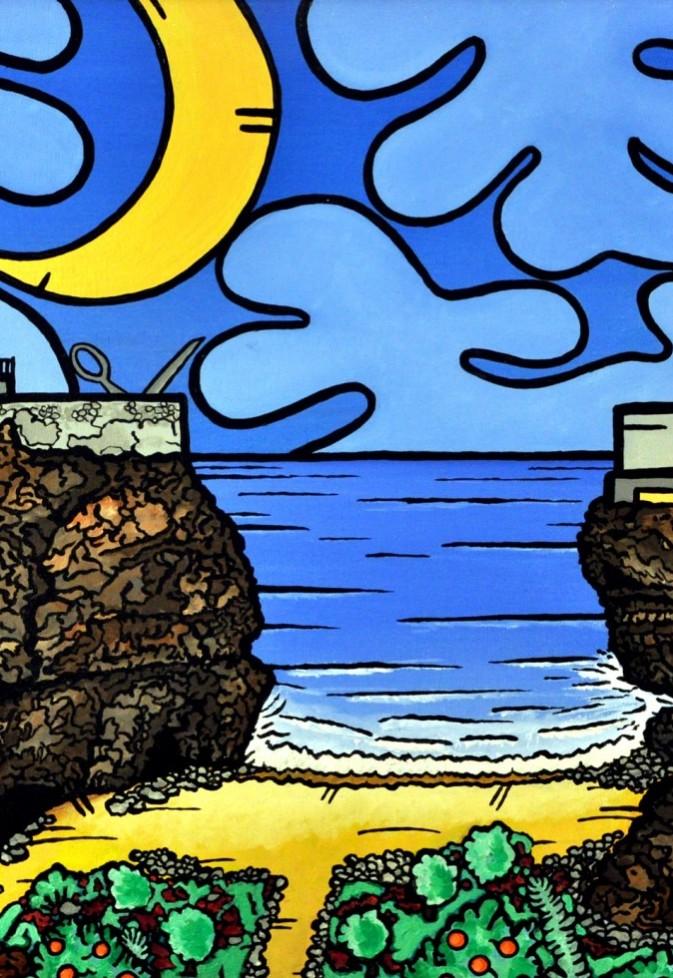 opera, contornismo metafisico, francesco ferrulli, pittore pugliese, artista italiano, arte contemporanea, dipinto, olio su tela, paesaggi pugliesi, puglia, quadro colorato, oil on canvas, art, painter, paesaggio pugliese, polignano, mare, felice di stare quaggiù, favola in uno scorcio