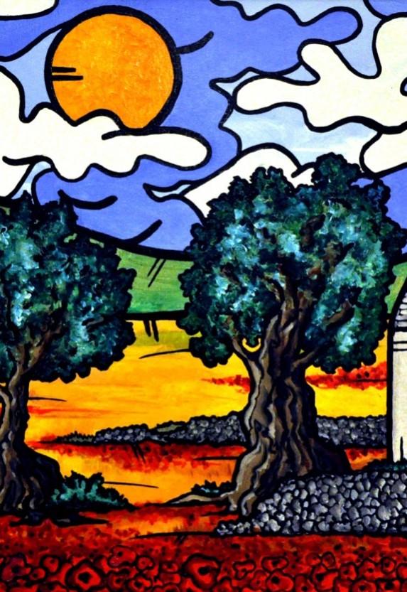 opera, contornismo metafisico, francesco ferrulli, pittore pugliese, artista italiano, arte contemporanea, dipinto, olio su tela, paesaggi pugliesi, puglia, quadro colorato, oil on canvas, art, painter, paesaggio pugliese, la saggezza degli ulivi, campagna pugliese, papaveri