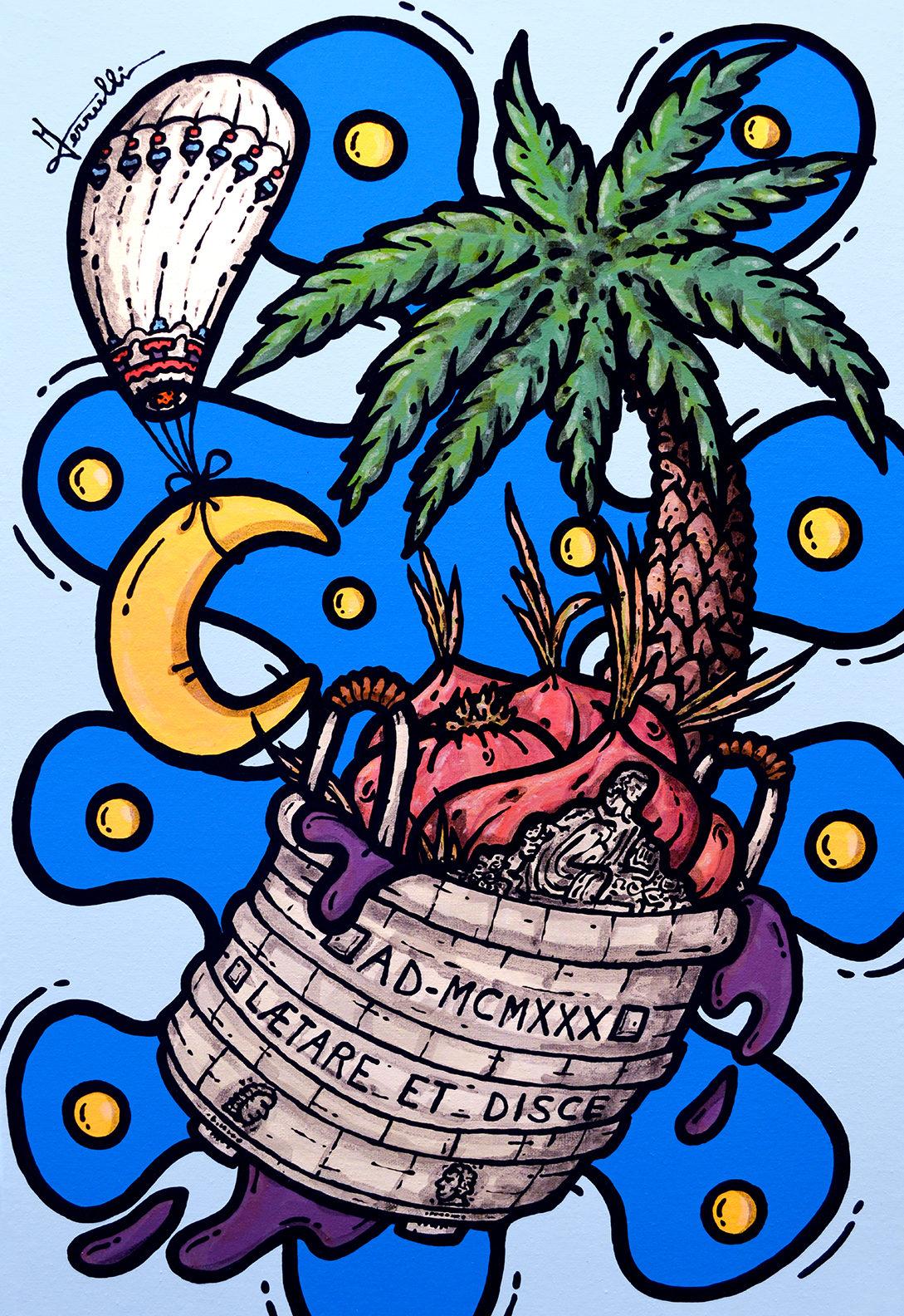 opera d'arte, contornismo metafisico, francesco ferrulli, pittore pugliese, artista italiano, arte contemporanea, dipinto, olio su tela, acrilico su tela, paesaggi pugliesi, quadro colorato, oil on canvas, art, painter, acquaviva delle fonti, cassarmonica, cipolle, vino, pallone della madonna,