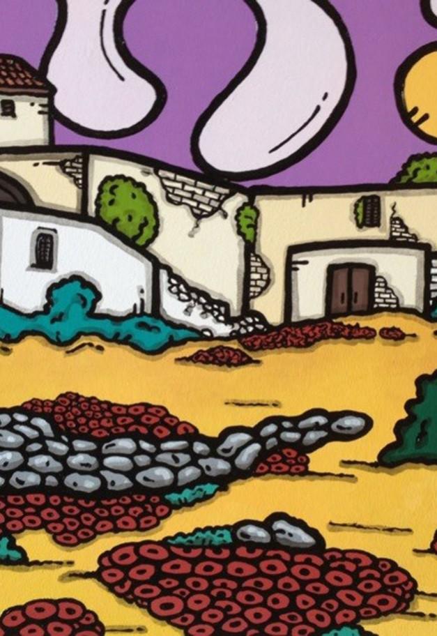opera d'arte, contornismo metafisico, francesco ferrulli, pittore pugliese, artista italiano, arte contemporanea, dipinto, olio su tela, paesaggi pugliesi, puglia, quadro colorato, oil on canvas, art, painter, paesaggio pugliese, le vecchie mura, campagna pugliese