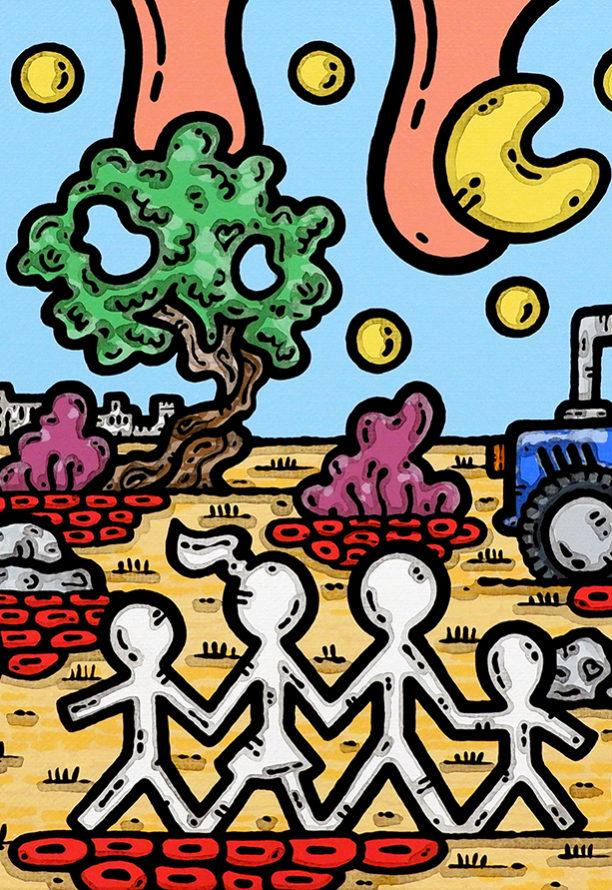 acrilico su tela, dipinto, opera d'arte, contornismo metafisico, art, francesco ferrulli, pittore, italiano, artista, italian artist, arte contemporanea, quadro, colori, paesaggio pugliese, acquaviva, pallone, famiglia, trattore.