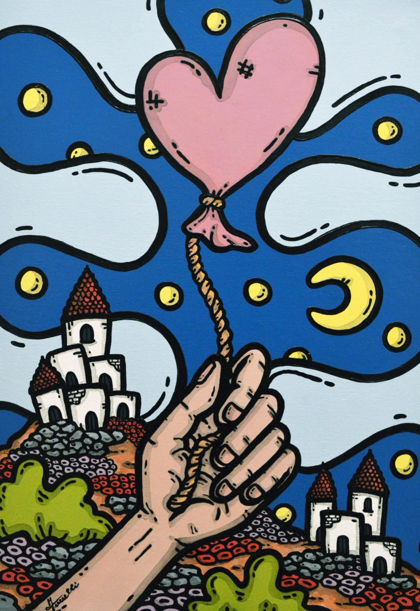 opera d'arte, contornismo metafisico, francesco ferrulli, pittore pugliese, artista italiano, arte contemporanea, dipinto, olio su tela, acrilico su tela, paesaggi pugliesi, quadro colorato, oil on canvas, art, painter, cuore, liberi d'amare