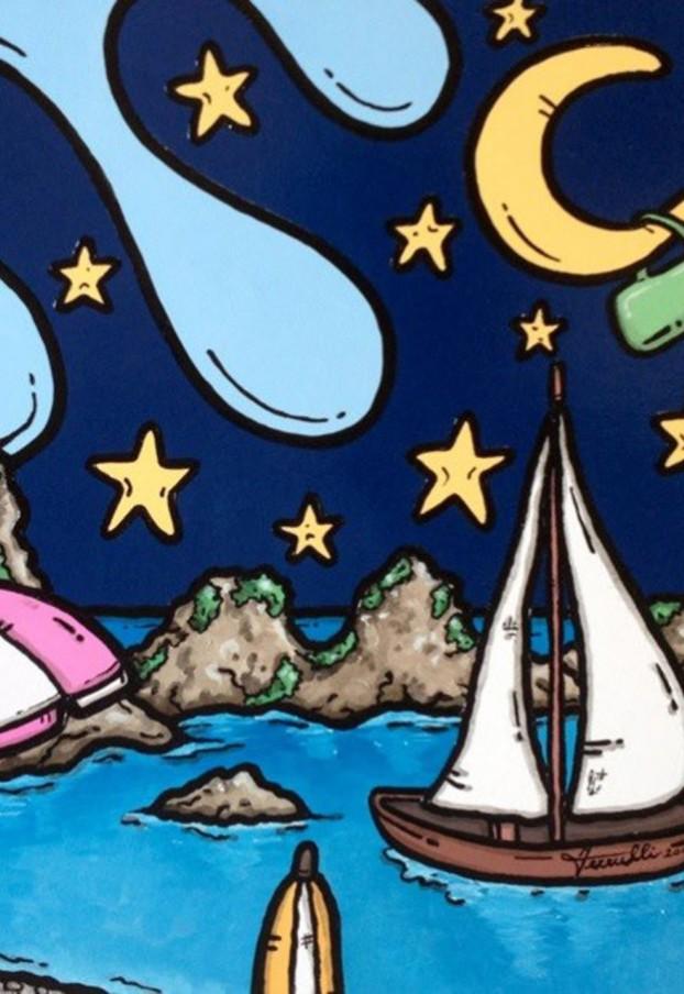 opera d'arte, contornismo metafisico, francesco ferrulli, pittore pugliese, artista italiano, arte contemporanea, dipinto, olio su tela, paesaggi calabresi, quadro colorato, oil on canvas, art, painter, ulivarella, palmi, acrilico su tela, vela