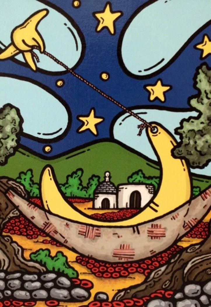 opera, contornismo metafisico, francesco ferrulli, pittore pugliese, artista italiano, arte contemporanea, dipinto, olio su tela, paesaggi pugliesi, puglia, quadro colorato, oil on canvas, art, painter, paesaggio pugliese, trulli, campagna pugliese, ulivi, luna vagabonda, amaca