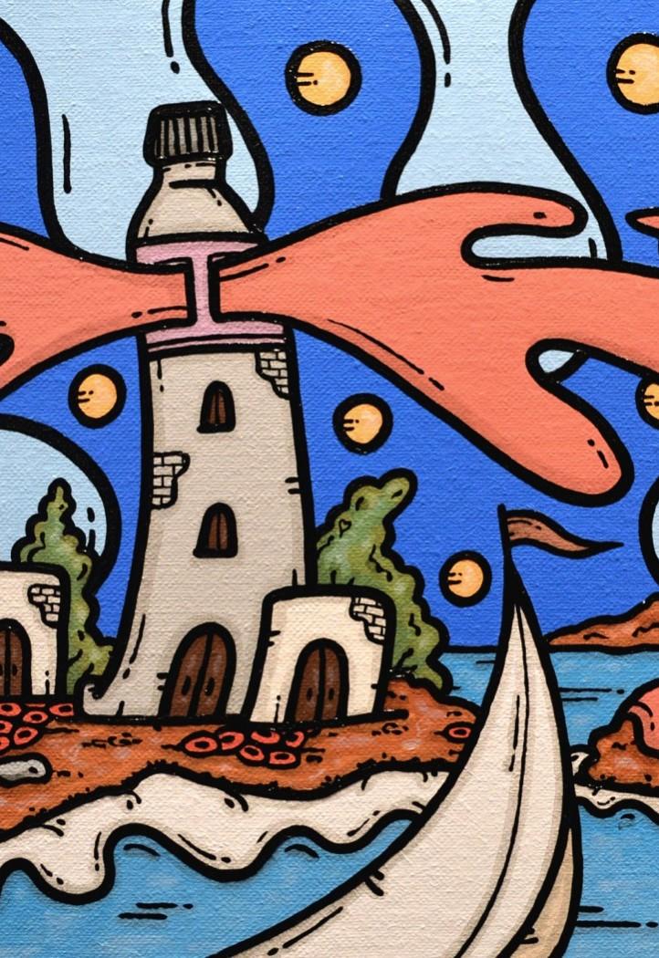 opera d'arte, contornismo metafisico, francesco ferrulli, pittore pugliese, artista italiano, arte contemporanea, dipinto, olio su tela, acrilico su tela, paesaggi pugliesi, quadro colorato, oil on canvas, art, painter, faro, tubetto colore, macchie d'amore