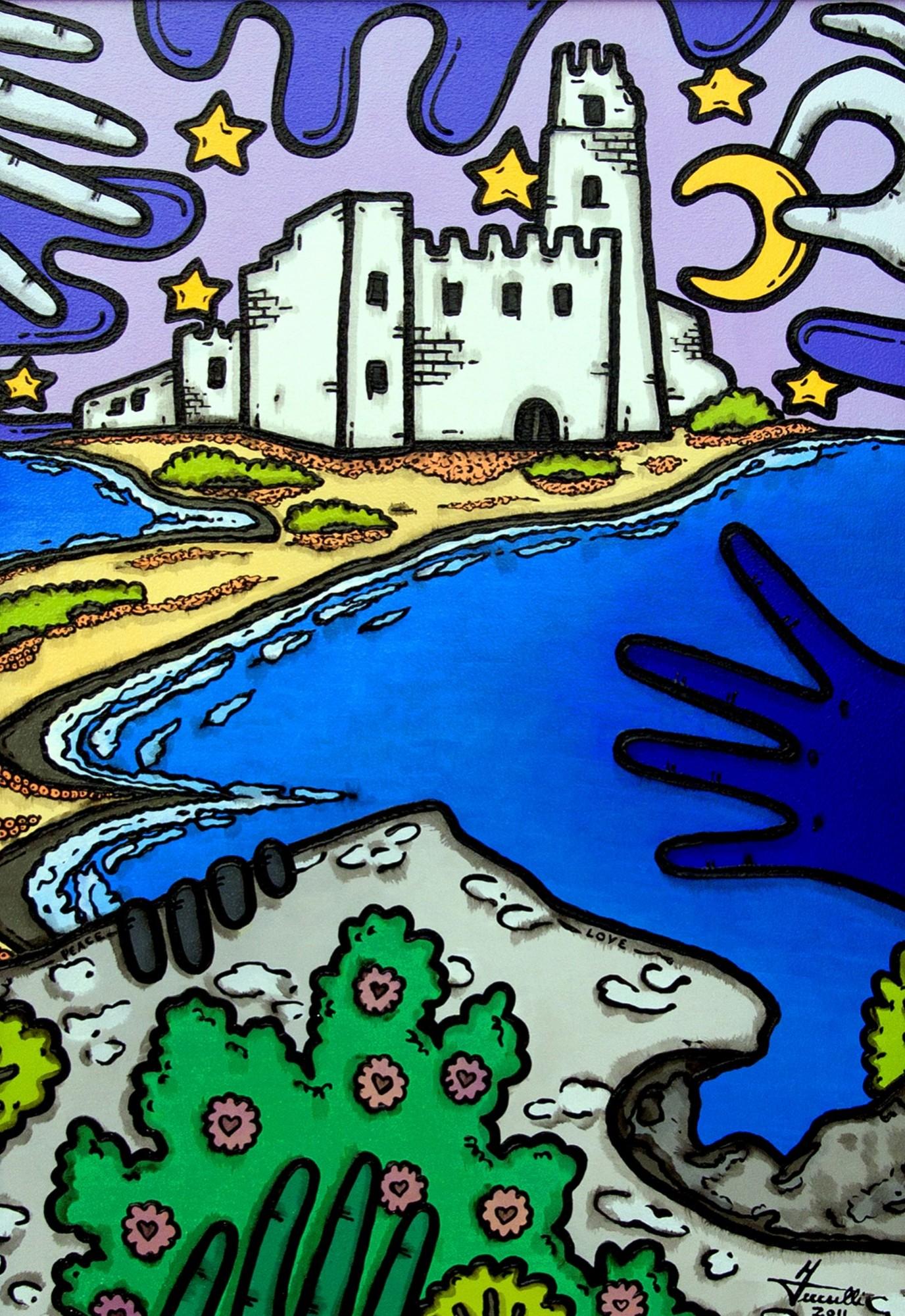 opera d'arte, contornismo metafisico, francesco ferrulli, pittore pugliese, artista italiano, arte contemporanea, dipinto, olio su tela, acrilico su tela, paesaggi pugliesi, quadro colorato, oil on canvas, art, painter, castello, maneggiando con cura