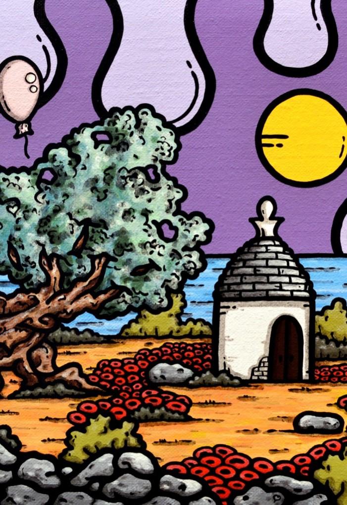 opera, contornismo metafisico, francesco ferrulli, pittore pugliese, artista italiano, arte contemporanea, dipinto, olio su tela, paesaggi pugliesi, puglia, quadro colorato, oil on canvas, art, painter, paesaggio pugliese, trulli, campagna pugliese, ulivi,