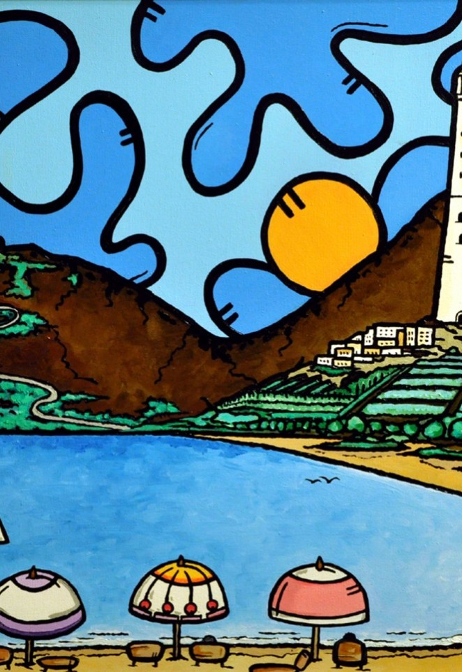 opera d'arte, contornismo metafisico, francesco ferrulli, pittore pugliese, artista italiano, arte contemporanea, dipinto, olio su tela, acrilico su tela, paesaggi pugliesi, quadro colorato, oil on canvas, art, painter, castello, faro, narrazione di un'alba,