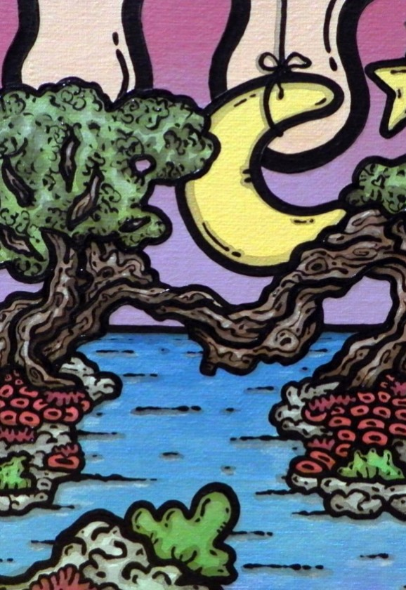 opera d'arte, contornismo metafisico, francesco ferrulli, pittore pugliese, artista italiano, arte contemporanea, dipinto, dipinti, olio su tela, paesaggi pugliesi, quadri, puglia, quadro colorato, oil on canvas, art, painter, paesaggio pugliese, campagna pugliese, ulivi, papaveri, oltremare, stelle, luna, nuvole