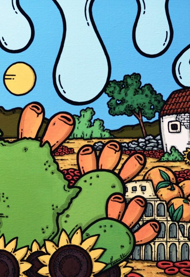 opera, contornismo metafisico, francesco ferrulli, pittore pugliese, artista italiano, arte contemporanea, dipinto, olio su tela, paesaggi pugliesi, puglia, quadro colorato, oil on canvas, art, painter, paesaggio pugliese, trulli, campagna pugliese, ulivi, fichi d'india, agrumi siciliani, sicilia, roma, africa, colosseo,