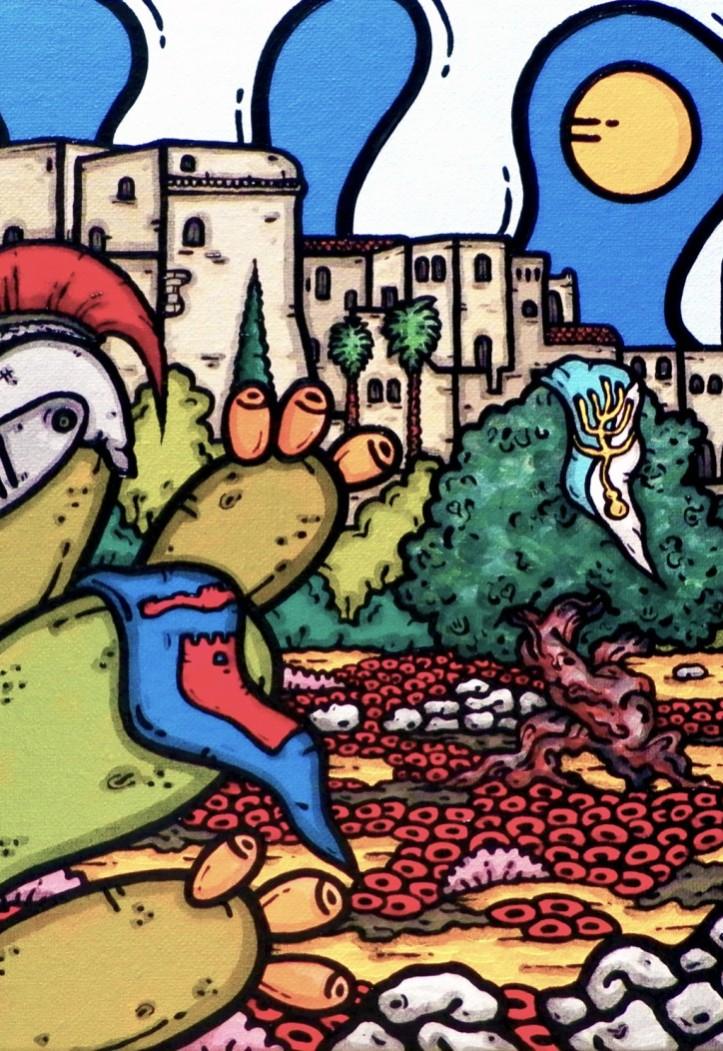 opera d'arte, contornismo metafisico, francesco ferrulli, pittore pugliese, artista italiano, arte contemporanea, dipinto, olio su tela, paesaggi pugliesi, quadri, puglia, quadro colorato, oil on canvas, art, painter, paesaggio pugliese, trulli, campagna pugliese, ulivi, fichi d'india, oria, brindisi, palio,