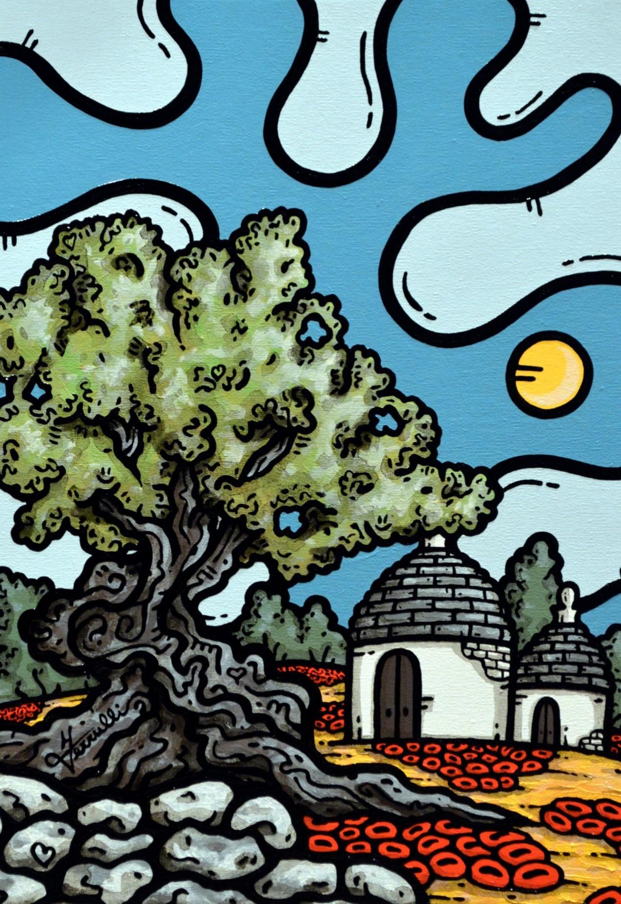 opera d'arte, contornismo metafisico, francesco ferrulli, pittore, pugliese, artista italiano, arte contemporanea, dipinto, olio su tela, paesaggi pugliesi, quadri, puglia, quadro colorato, oil on canvas, art, painter, paesaggio pugliese, trulli, campagna pugliese, ulivi, muretti a secco, papaveri