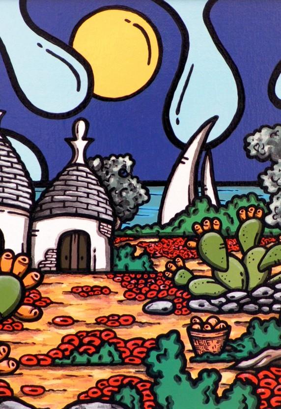 opera, contornismo metafisico, francesco ferrulli, pittore, pugliese, artista italiano, arte contemporanea, dipinto, olio su tela, paesaggi pugliesi, quadri, puglia, quadro colorato, oil on canvas, art, painter, paesaggio pugliese, trulli, campagna pugliese, ulivi, fichi d'india, pensieri velati, contadino, papaveri