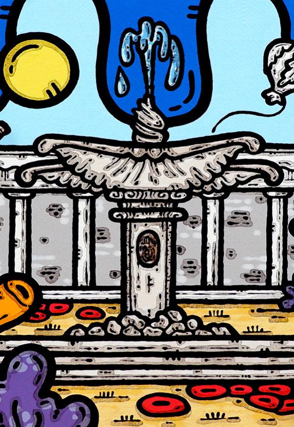 acrilico su tela, dipinto, opera d'arte, contornismo metafisico, art, francesco ferrulli, pittore, italiano, artista, italian artist, arte contemporanea, quadro, colori, paesaggio pugliese, foggia, piazza Cavour, fontana del sele.