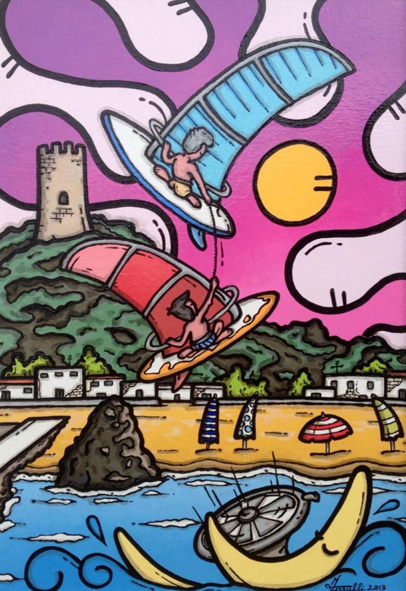 opera d'arte, contornismo metafisico, francesco ferrulli, pittore pugliese, artista italiano, arte contemporanea, dipinto, olio su tela, paesaggi calabresi, quadro colorato, oil on canvas, art, painter, ulivarella, palmi, surf, sea, mare, stelle, luna, tonnara