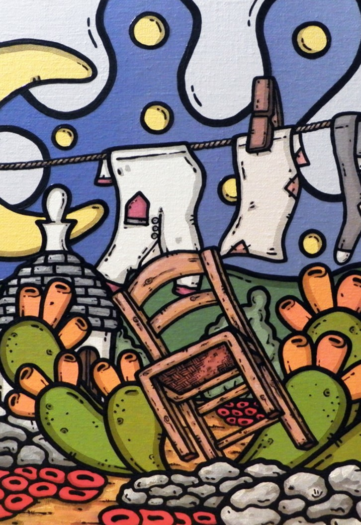 opera d'arte, contornismo metafisico, francesco ferrulli, pittore, pugliese, artista italiano, arte contemporanea, dipinto, olio su tela, paesaggi pugliesi, puglia, quadri, quadro colorato, oil on canvas, art, painter, paesaggio pugliese, trulli, campagna pugliese, ulivi, fichi d'india, sedia, muretti a secco, papaveri
