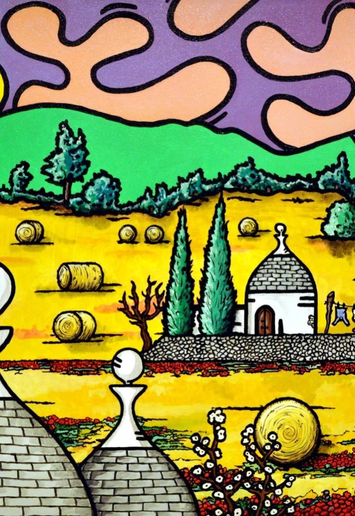 opera, contornismo metafisico, francesco ferrulli, pittore pugliese, artista italiano, arte contemporanea, dipinto, olio su tela, paesaggi pugliesi, puglia, quadro colorato, oil on canvas, art, painter, paesaggio pugliese, trulli, campagna pugliese, ulivi,primavera pugliese