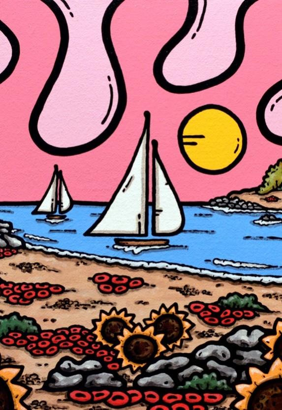 opera d'arte, acrilico su tela, contornismo metafisico, francesco ferrulli, pittore, pugliese, artista italiano, arte contemporanea, dipinto, olio su tela, paesaggi pugliesi, puglia, quadri, quadro colorato, oil on canvas, art, painter, paesaggio pugliese, trulli, campagna pugliese, girasoli, spiaggia, faro, vele, pink,