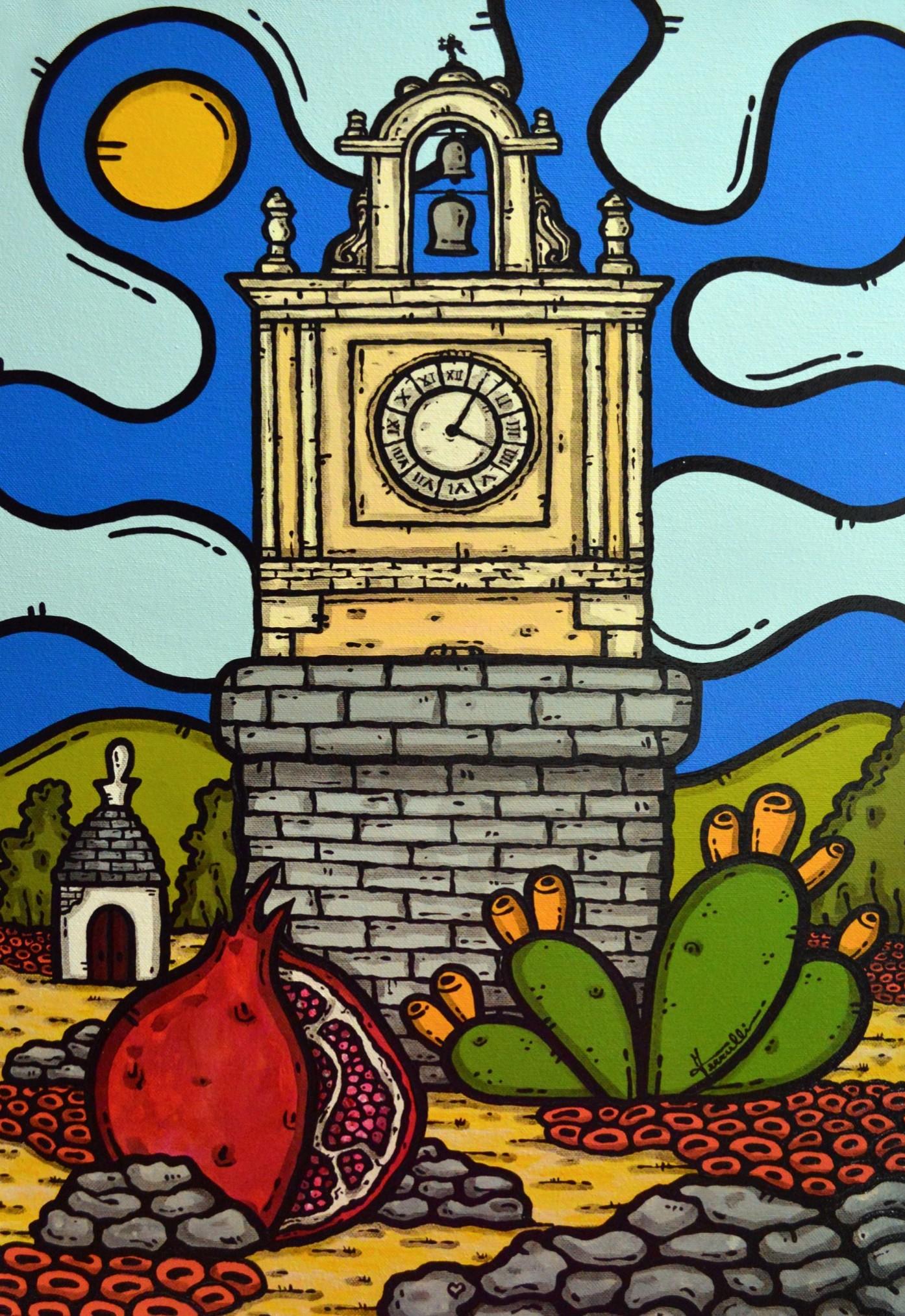 opera, contornismo metafisico, francesco ferrulli, pittore pugliese, artista italiano, arte contemporanea, dipinto, olio su tela, paesaggi pugliesi, puglia, quadro colorato, oil on canvas, art, painter, paesaggio pugliese, trulli, campagna pugliese, ulivi, fichi d'india, acquaviva delle fonti, melograno, quadri, pozzo,