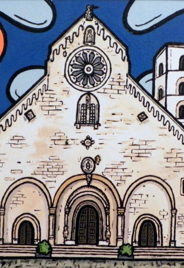 opera d'arte, contornismo metafisico, francesco ferrulli, pittore pugliese, artista italiano, arte contemporanea, dipinto, olio su tela, paesaggi pugliesi, quadri, puglia, quadro colorato, oil on canvas, art, painter, paesaggio pugliese, ruvo, cattedrale, chiesa