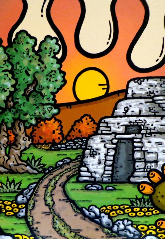 opera d'arte, contornismo metafisico, francesco ferrulli, pittore pugliese, artista italiano, arte contemporanea, dipinto, olio su tela, paesaggi pugliesi, quadri, puglia, quadro colorato, oil on canvas, art, painter, paesaggio pugliese, campagna pugliese, ulivi, fichi d'india, terra mia, salentinu, salento, trullo, tramonto