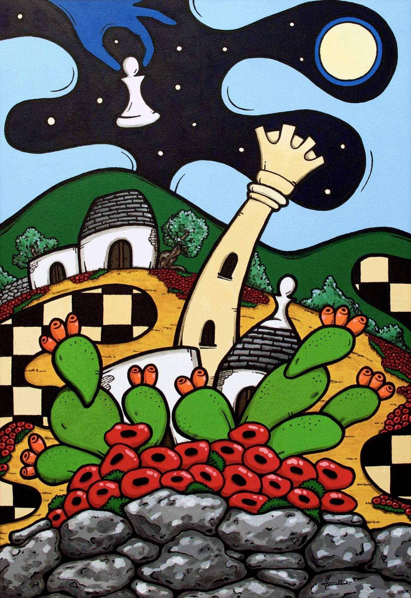 opera d'arte, contornismo metafisico, francesco ferrulli, pittore pugliese, artista italiano, arte contemporanea, dipinto, olio su tela, paesaggi pugliesi, quadri, puglia, quadro colorato, oil on canvas, art, painter, paesaggio pugliese, trulli, campagna pugliese, ulivi, fichi d'india, scacco alla regina, papaveri, muretti a secco